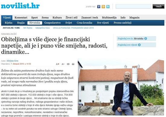 Intervju predsjednika Udruge u Novom listu